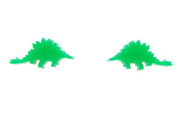 Stegosaurus Earrings in Neon Green