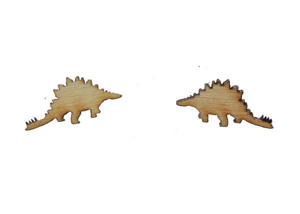 Stegosaurus Earrings in Birch Wood