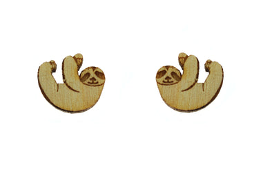 Sloth Earrings in Birch Wood