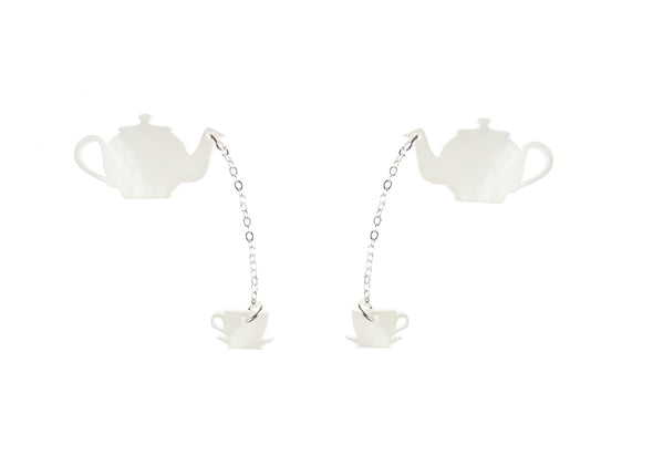 Teatime for Two Earrings in Pearl White