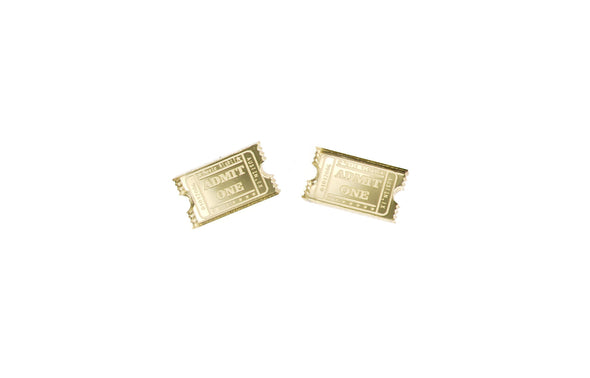 Shiny Golden Ticket Earrings