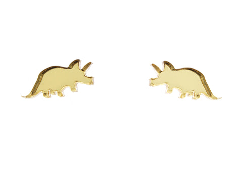 Triceratops Earrings in Mirror Gold