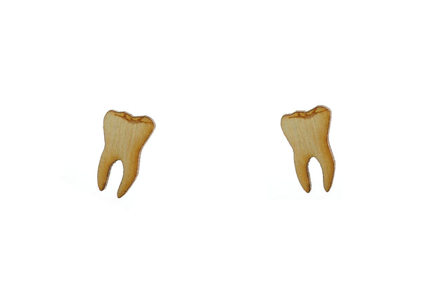 Teeth Earrings in Birch Wood