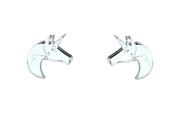 Unicorn Earrings in Mirror Silver