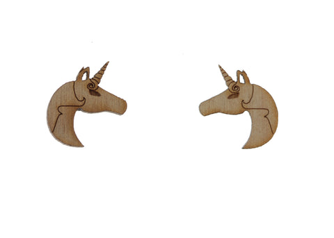 Unicorn Earrings in Birch Wood