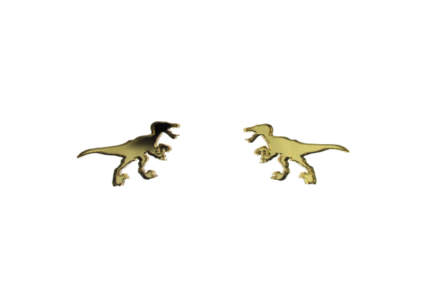 Velociraptor Earrings in Mirror Gold