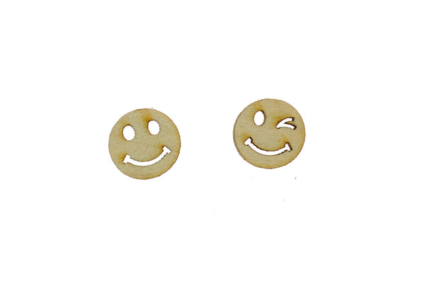Wink and a Smile Earrings in Birch Wood