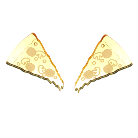 XL Pizza Studs in Mirror Gold