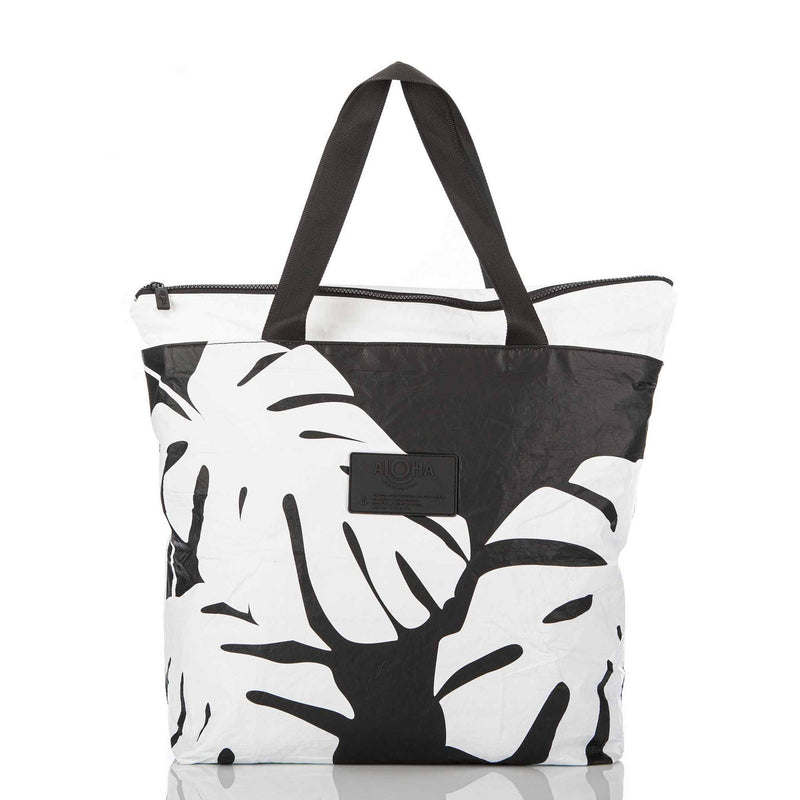 ALOHA DAY TRIPPER /  MONSTERA WHITE ON BLACK