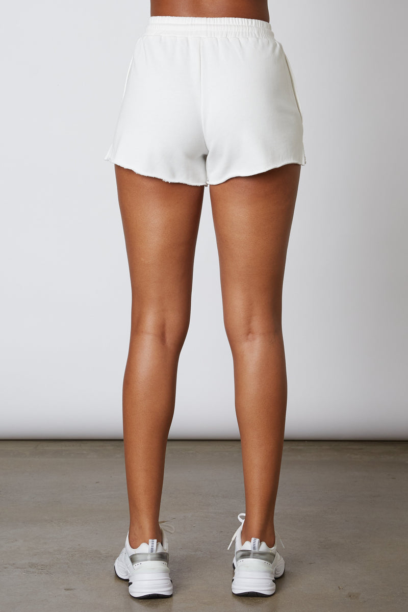 NP-378 BAGGY CUT OFF SHORT - WHITE NP-378