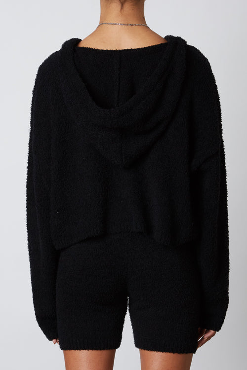 NS-393 NOTCHED HOODED SWEATER - BLACK