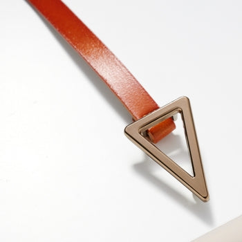 TRIANGLE METAL BUCKLE LEATHER BELT - CAMEL