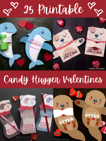 25 Printable Candy Hugger Valentines