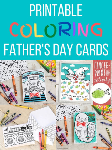 Printable Coloring Father's Day Cards