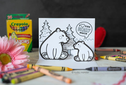Printable mother's day pop up bear card
