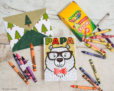 Printable papa bear coloring father's day card