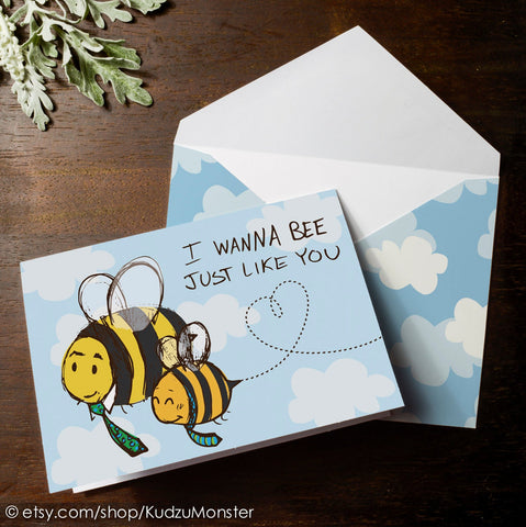 Printable bee father's day card