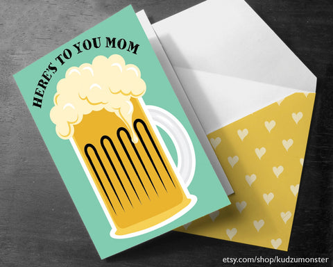 Printable beer mother's day card