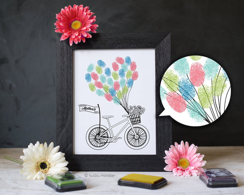 Printable framable mother's day bicycle finger painting art project