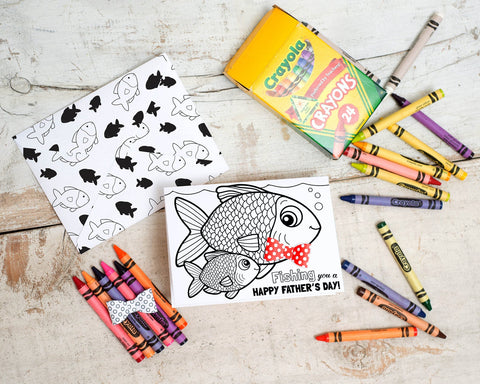 Printable fish coloring father's day card