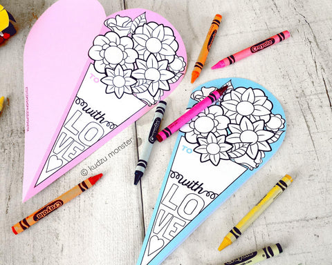 Printable Mother's day flower bouquet coloring card