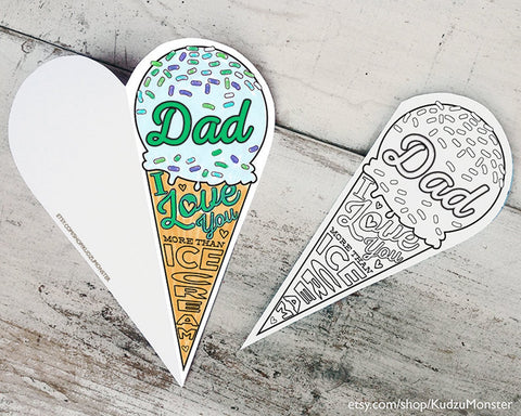Ice cream coloring father's day card