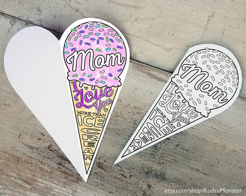 Mother's day ice cream cone card