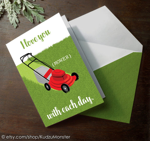Printable lawn mower father's day card