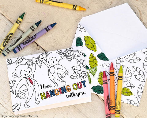 Printable monkey coloring father's day card