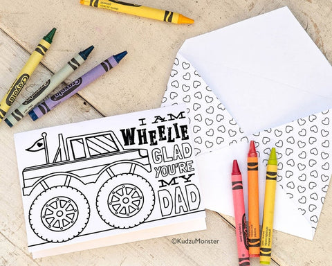 Monster truck coloring father's day card