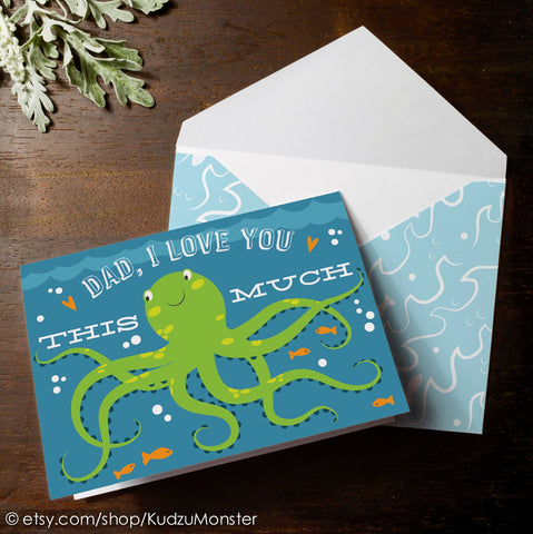Printable octopus father's day card