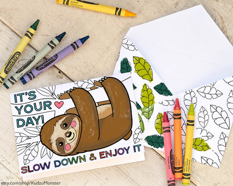 Printable sloth coloring father's day card