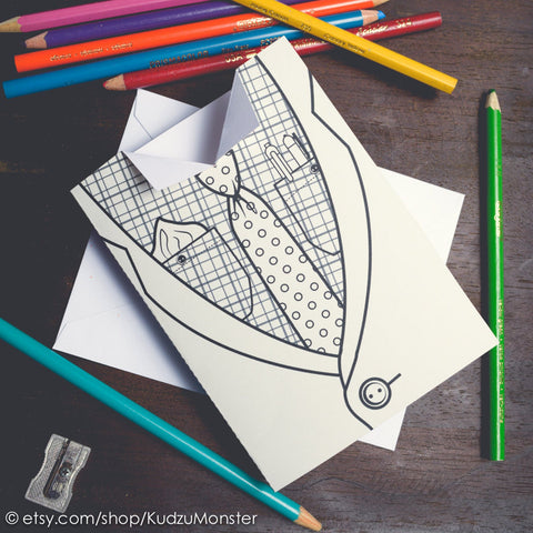 Printable suit and tie coloring father's day card