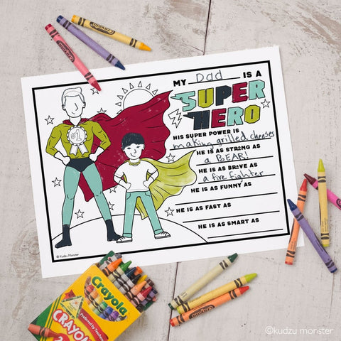 Printable super hero coloring father's day card