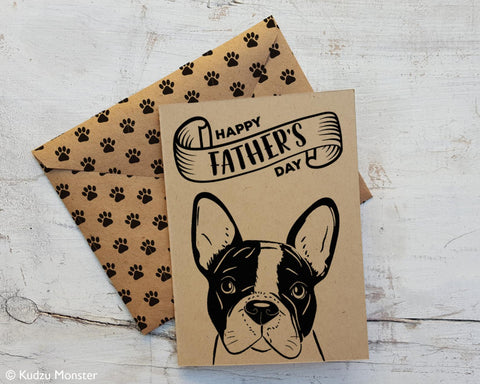 Printable boston terrier father's day card