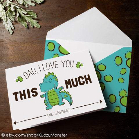 Printable t-rex father's day card