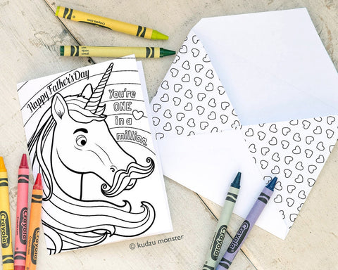 Printable unicorn coloring father's day card