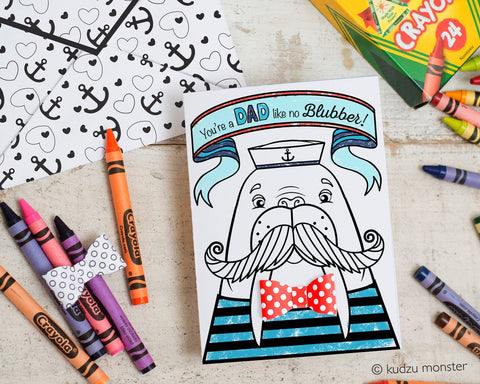 Printable walrus coloring father's day card