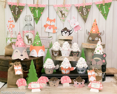 Printable pink and green woodland party decor kit