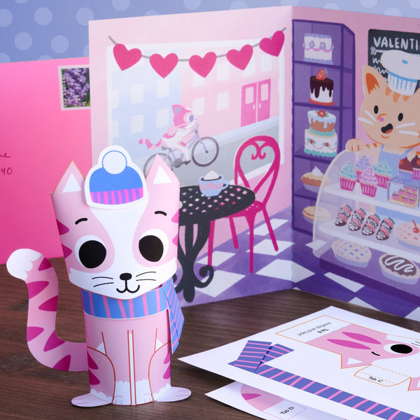 3D Cat Valentine Mail Craft Kit