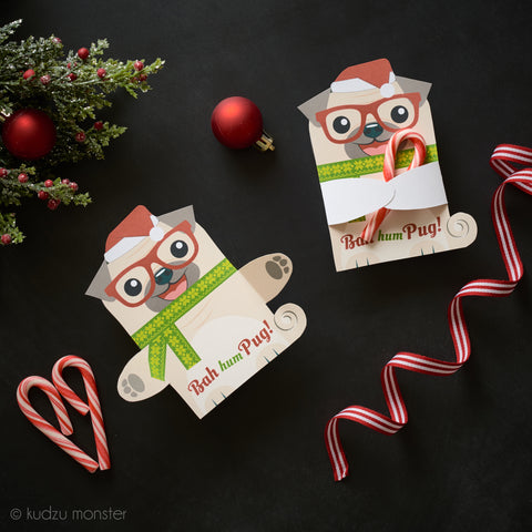 Printable Pug Holiday Huggers
