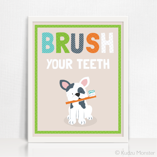 Printable Puppy Brush Your Teeth Art - Kudzu Monster