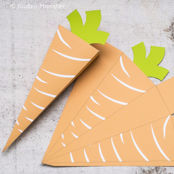 Printable Foldable Easter Carrot Candy Box - Kudzu Monster  - 1