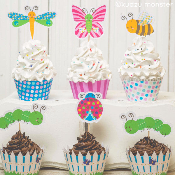 Printable Cute Insect Cupcake Kit - Kudzu Monster