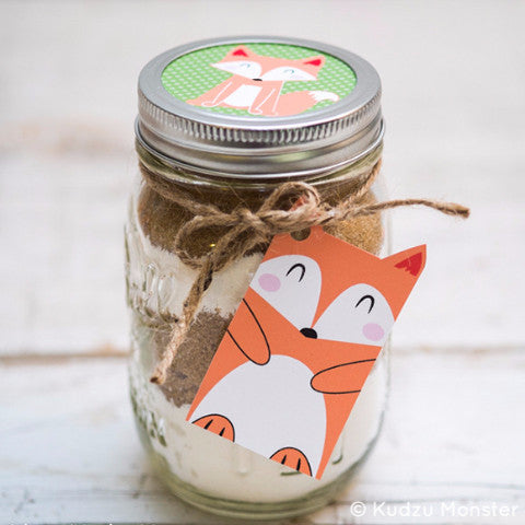 Printable Fox Gift Tags and Mason Jar Labels - Kudzu Monster