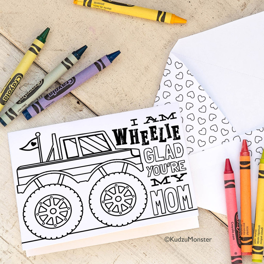 Coloring Activity Mother's Day Card: Monster Truck