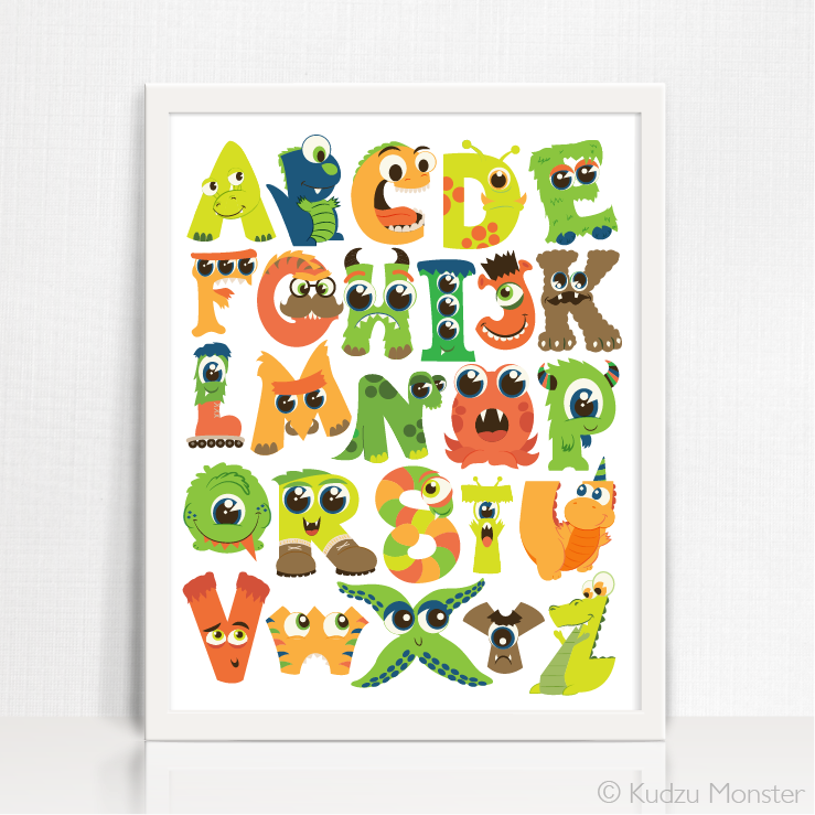 monster alphabet printable art kudzu monster