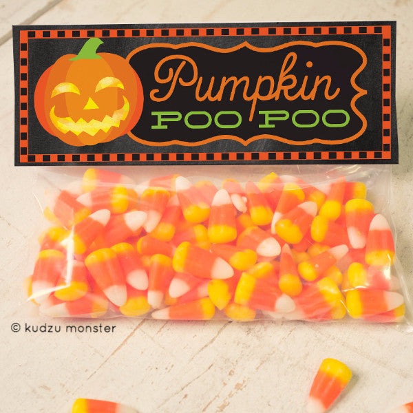 Pumpkin Poo Poo Printable Treat Topper - Kudzu Monster