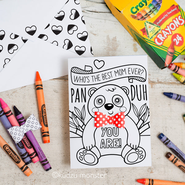 Coloring Activity Mother's Day Card: Panda