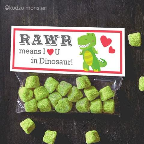 Rawr Means I Love You Dinosaur Valentine Treat Topper